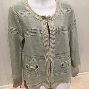 Women's Sweater Cardigan, Size L. Mint By CABi